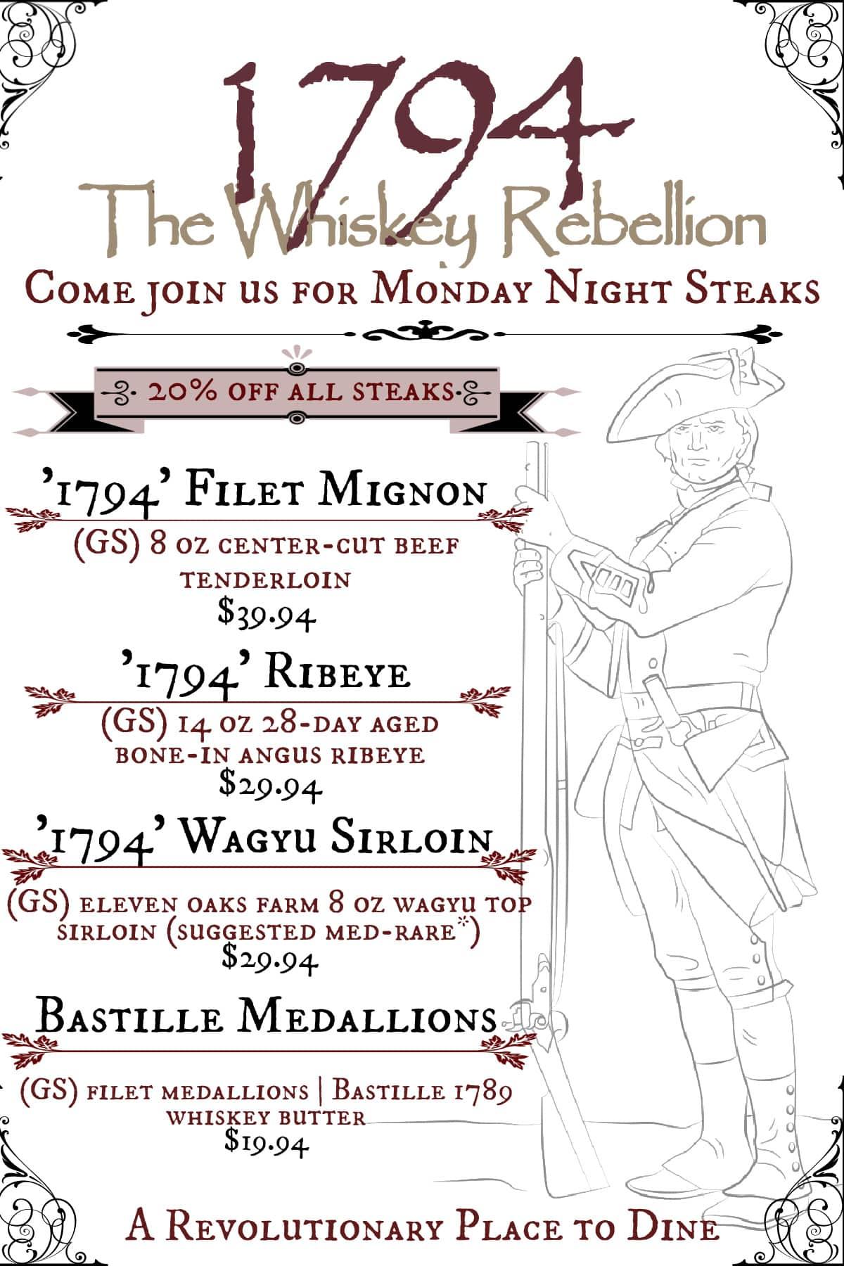 1794 The Whiskey Rebellion steak night promo