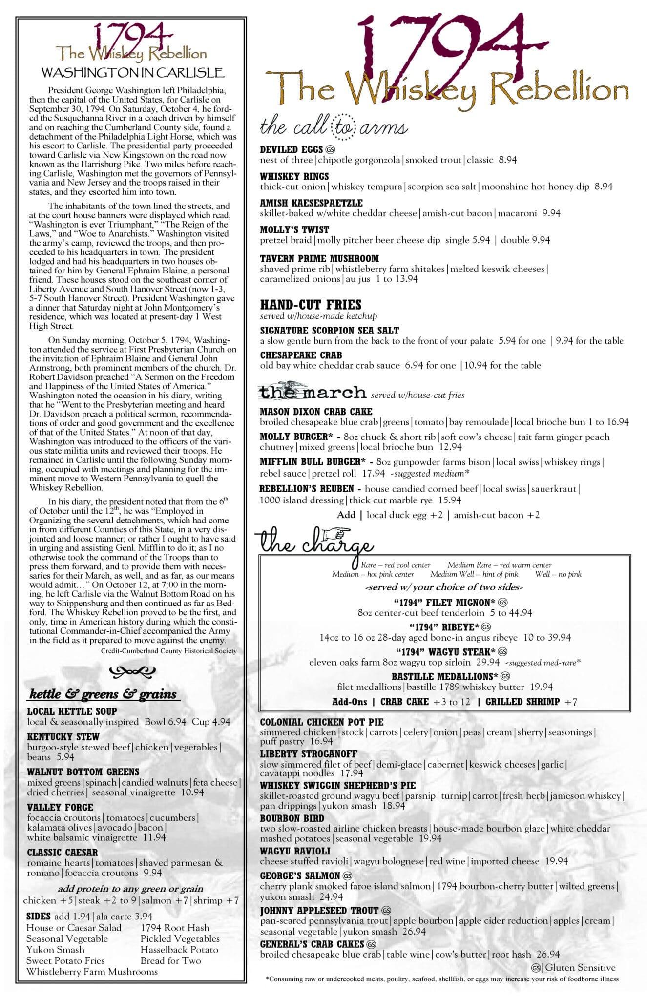 1794 The Whiskey Rebellion Dinner Menu
